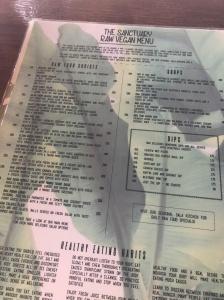 The raw menu at the sanctuary
