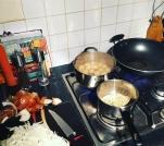 crushed potato and lentil pie prep