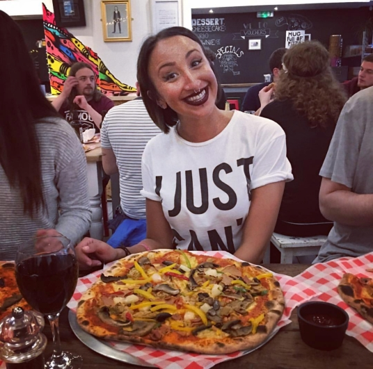 Nadya just loves pizza!