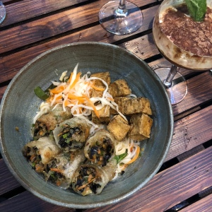 Spring rolls and fried tofu bowl at Cafe Coco Tang