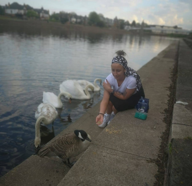 Nadya feeding geese and swans