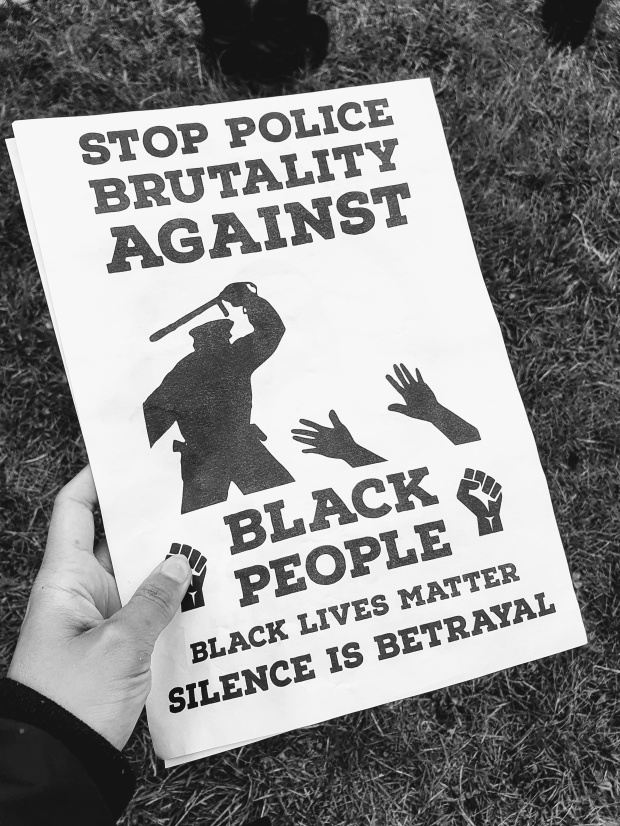Nottingham BLM flyer about police brutality