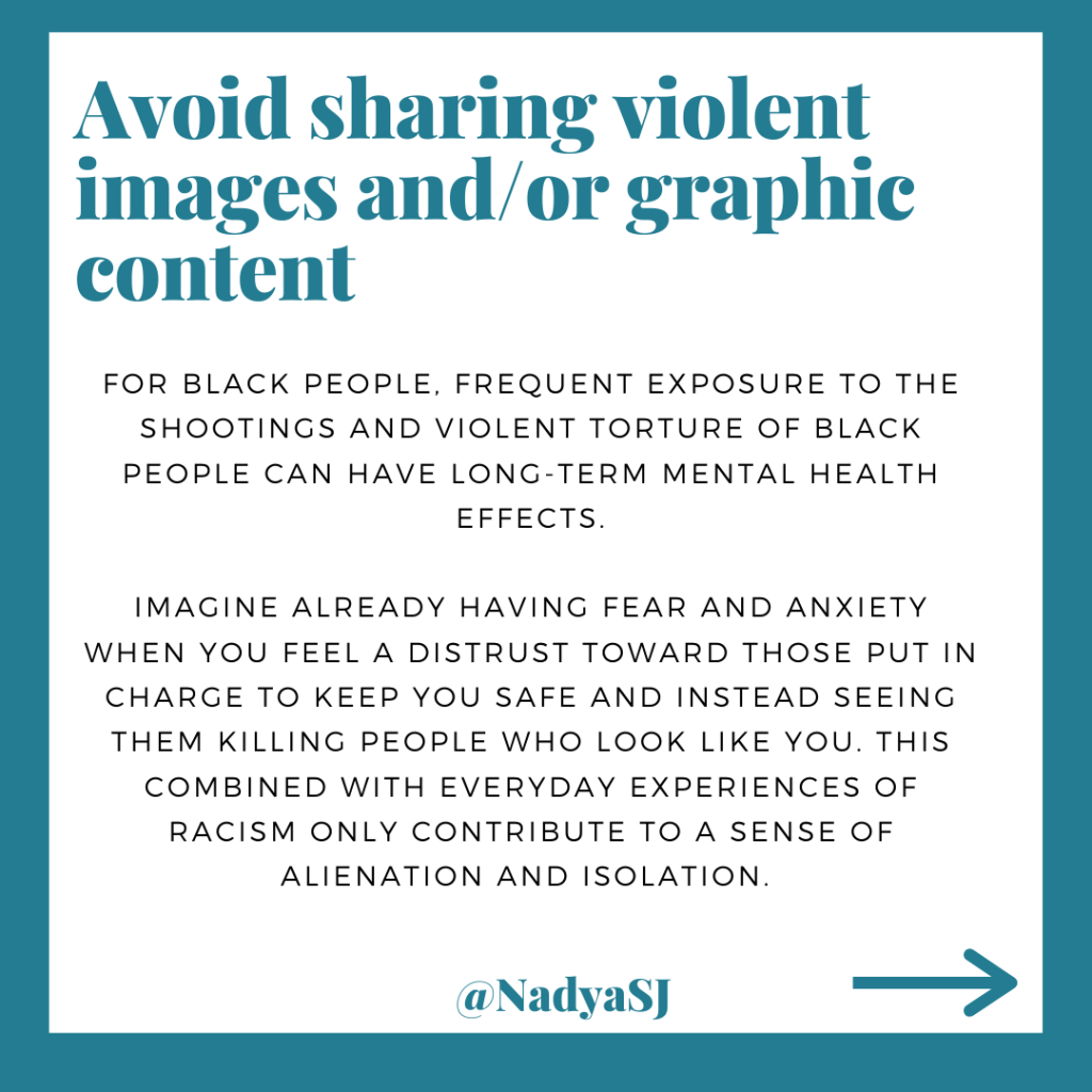 Avoid sharing violent images and/or graphic content